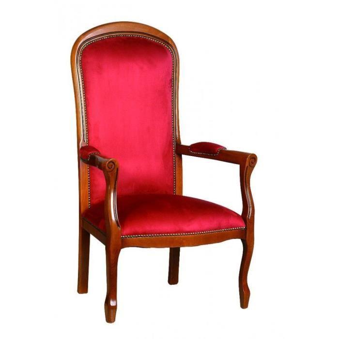 fauteuil voltaire merisier et microfibre bordeaux achat vente fauteuil marron cdiscount. Black Bedroom Furniture Sets. Home Design Ideas