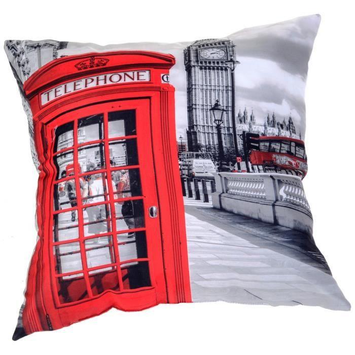 coussin imprim d co londres mode london cabine t l phonique rouge tendance achat vente. Black Bedroom Furniture Sets. Home Design Ideas