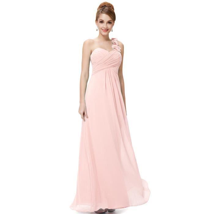 ROBE DE CÉRÉMONIE Robe de soirée rose plissée une bretelle fleur