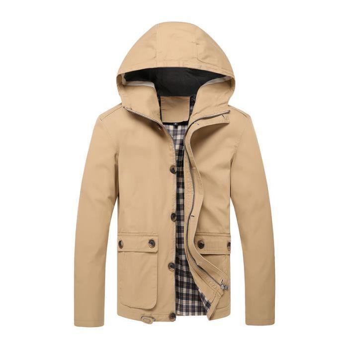 Veste capuche homme marque d contract slim f kaki achat vente veste cdiscount - Veste homme decontracte ...