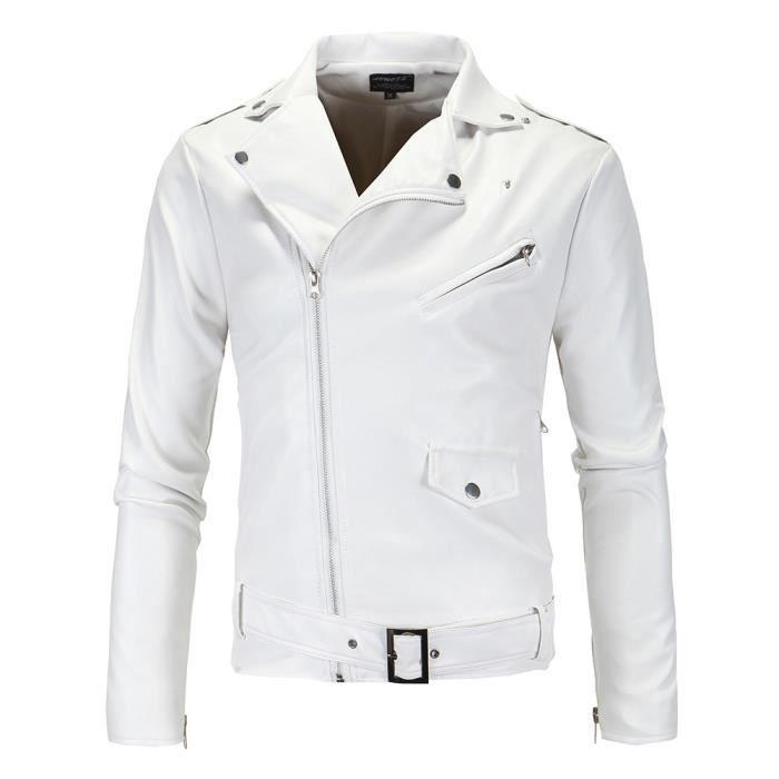 blouson moto en pu cuir homme automne marque zipper faux veste cuir hommes blanc pu cuir d lav. Black Bedroom Furniture Sets. Home Design Ideas