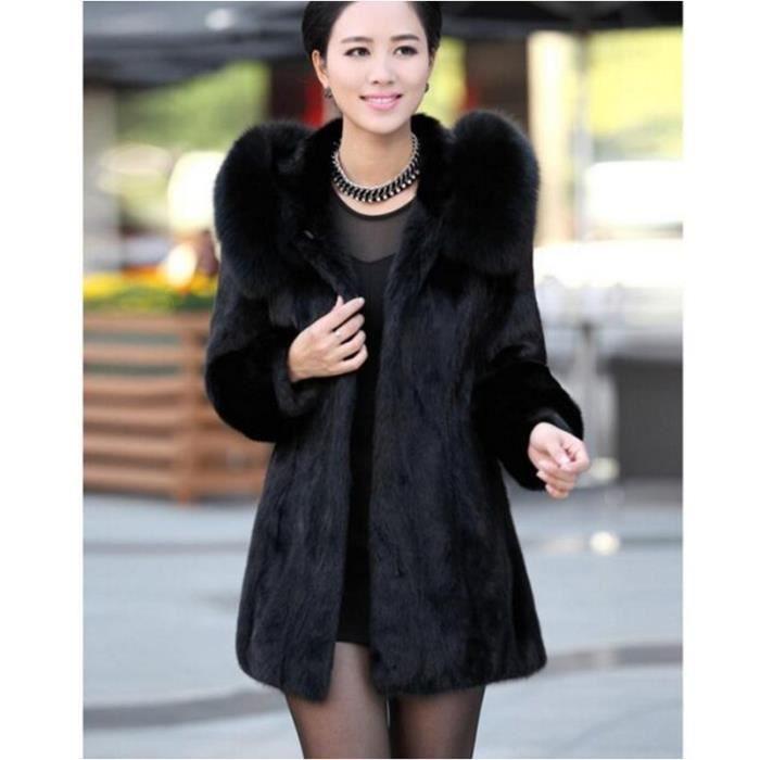 femme manteau de fourrure noir mode solide couleur moyen. Black Bedroom Furniture Sets. Home Design Ideas