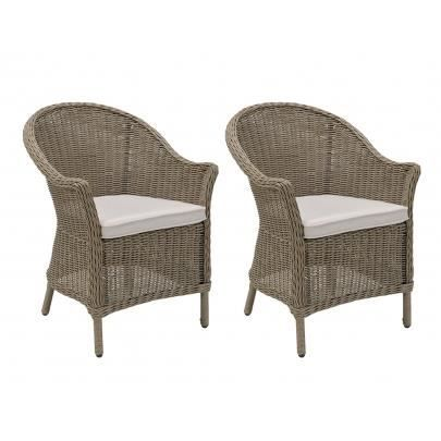 Lot de 2 fauteuils de jardin cabrera en r sine tre achat vente chaise fauteuil jardin lot for Fauteuils de jardin unopiu