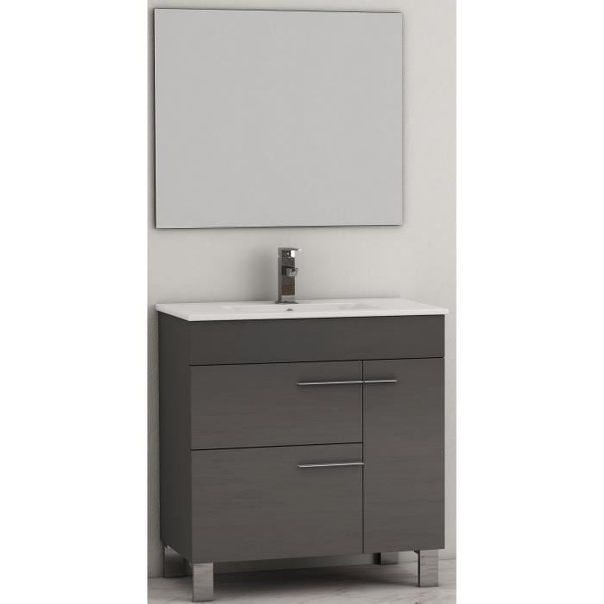 Meuble de salle de bains 2 tiroirs 1 porte mod le guapo for Achat porte meuble salle de bain
