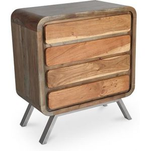 COMMODE DE CHAMBRE Grande commode en bois recycle, 4 tiroirs Style In