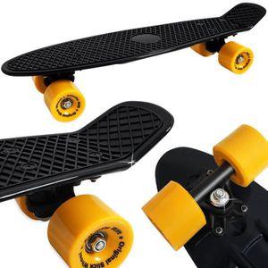 SKATEBOARD - LONGBOARD Planche à roulettes RETRO Skate - Noir Jaune