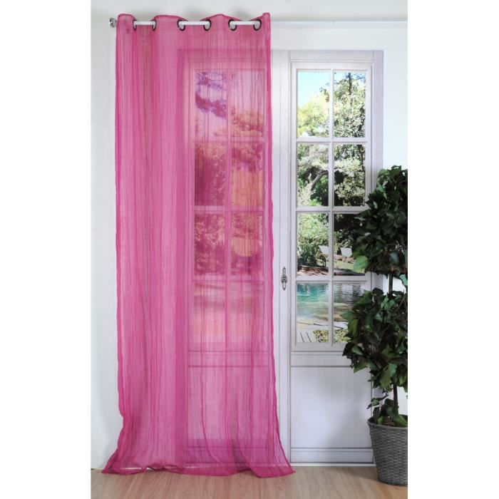 voilage froiss 135x240 cm rose achat vente voilage. Black Bedroom Furniture Sets. Home Design Ideas