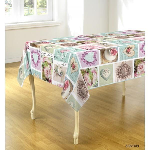 Nappe ovale romantisme 2m40 x 1m48 anti tache infroissable for Nappe de table ovale