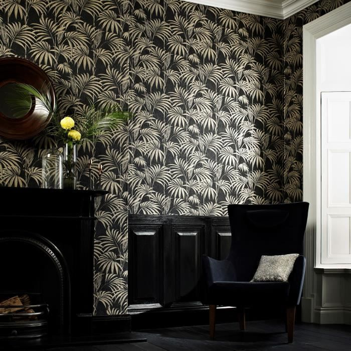 papier peint support intiss honolul noir or achat vente papier peint cdiscount. Black Bedroom Furniture Sets. Home Design Ideas