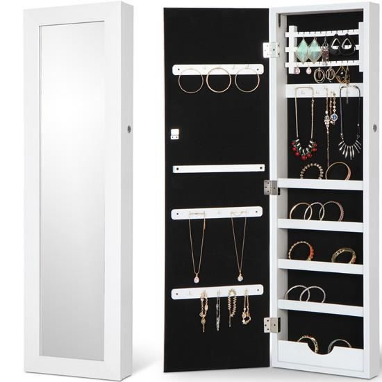 armoire bijoux murale avec miroir de couleur blanche. Black Bedroom Furniture Sets. Home Design Ideas