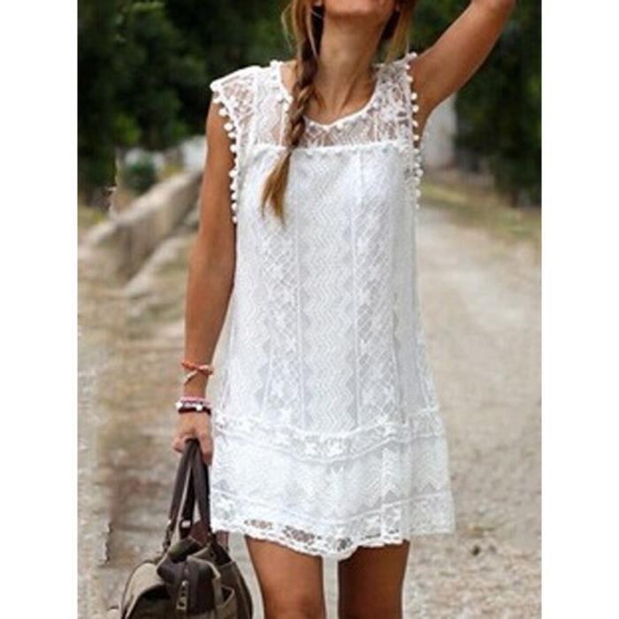 Robe en crochet blanche