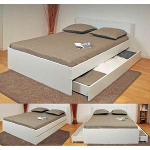 Oslo lit adulte 2 tiroirs 140 x 190 cm blanc achat vente structure de lit - Lit 140 x 190 tiroir ...