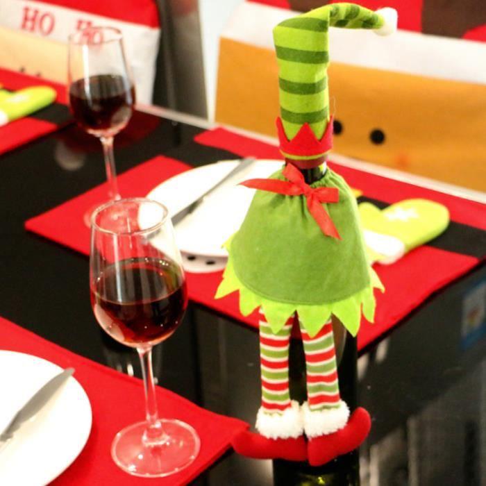 Décoration de Noël Bouteille de vin couverture vin rouge sacs ...