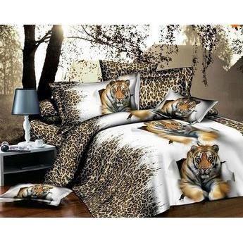 parure de lit 3d 2 pers polyester t te de tigre achat vente parure de drap cdiscount. Black Bedroom Furniture Sets. Home Design Ideas