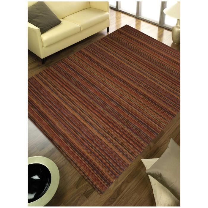 Tapis salon finement raye look 409 multicolore 250x350 par look tapis moderne 250 x 350 cm - Tapis salon multicolore ...