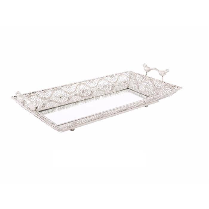 plateau en m tal avec miroir 45x24 cm couleur argent achat vente miroir cdiscount. Black Bedroom Furniture Sets. Home Design Ideas
