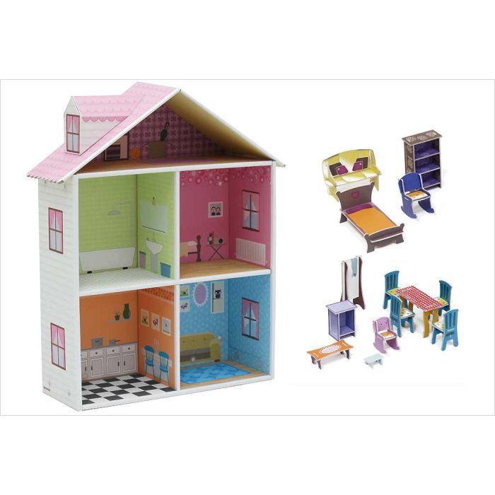 maison de poup e en carton achat vente maison poup e. Black Bedroom Furniture Sets. Home Design Ideas