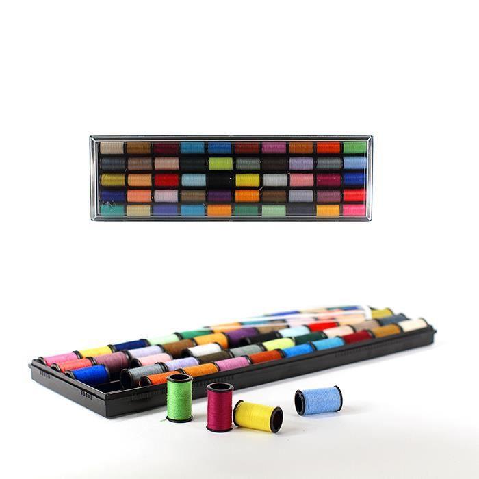 Coffret couture 50 bobines de fil en polyester achat for Coffret de couture
