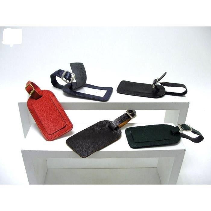 etiquette valise cuir couleur au choix rouge achat vente porte adresse cdiscount. Black Bedroom Furniture Sets. Home Design Ideas