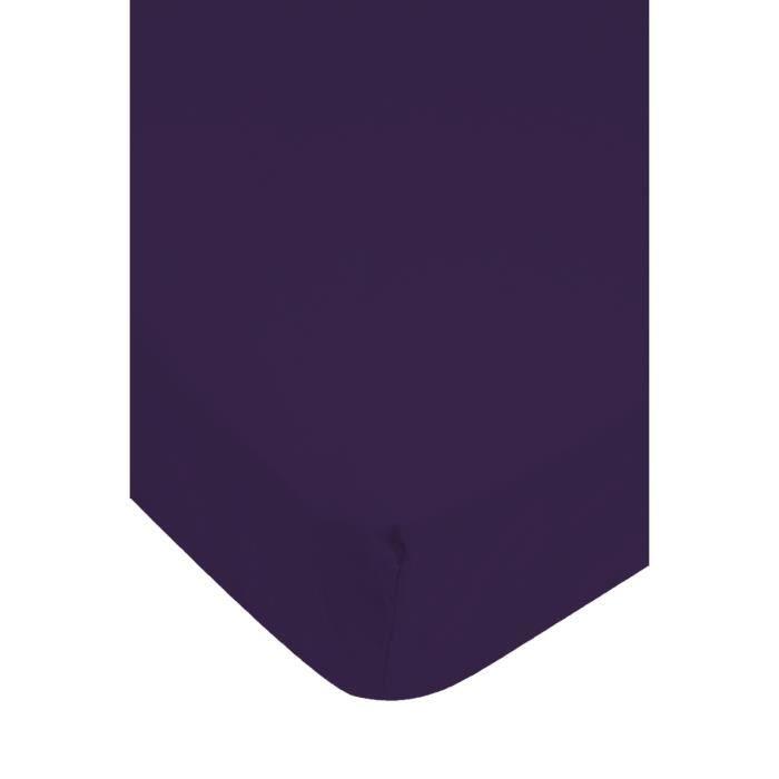 Drap housse violet achat vente drap housse cdiscount - Drap housse 140x190 violet ...
