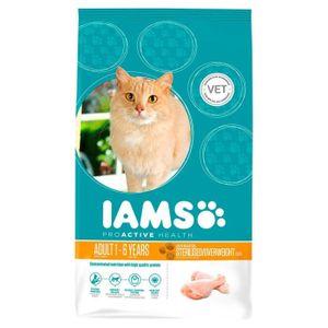 IAMS Croquettes au poulet - Toutes races - Stérilisé - 2,55kg - Pour chat adulte