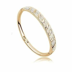 BRACELET , GOURMETTE Bracelet plaqué or cristaux SWAROVSKI ELEMENTS. \u2039\u203a
