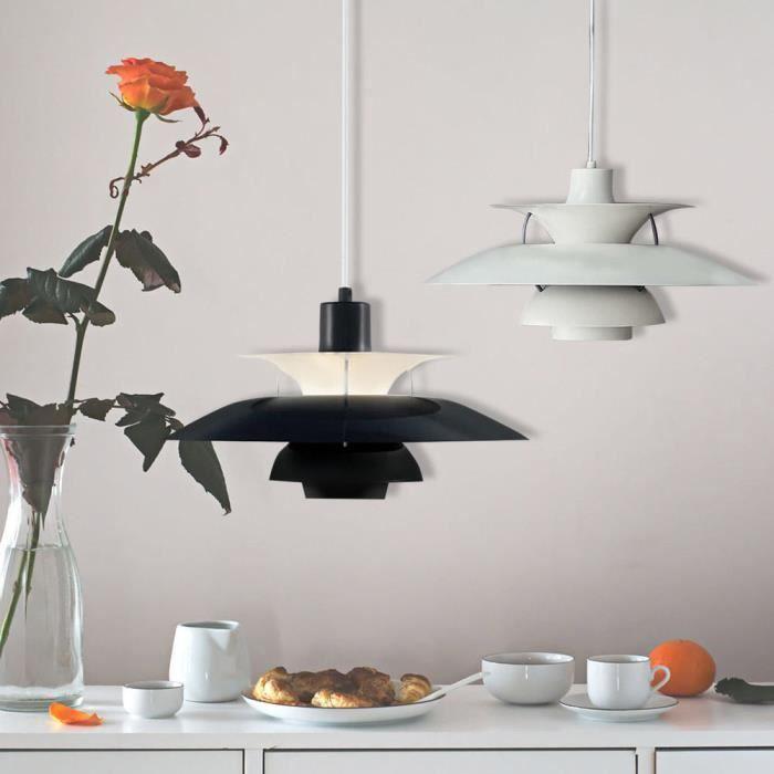 Suspension lustre en fer r tro noir au plafond lampe for Suspension en fer noir