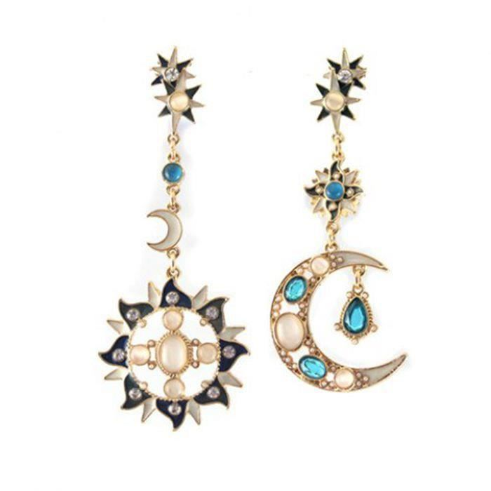 des boucles d 39 oreilles lune soleil pendentif asym trique boucle d 39 oreille chic faux opal. Black Bedroom Furniture Sets. Home Design Ideas