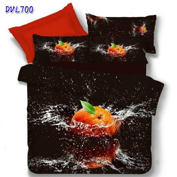parure de lit 2 pers orange sur fond noir achat vente parure de drap cdiscount. Black Bedroom Furniture Sets. Home Design Ideas