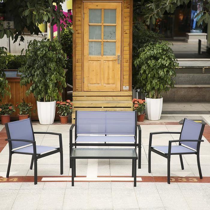 Ikayaa ensemble 4pcs meubles table 2 chaises simples 1 for Table exterieur 2 personnes
