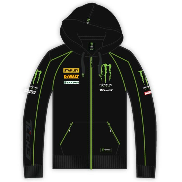 sweat capuche homme team yamaha tech3 monster energy vert achat vente sweatshirt cdiscount. Black Bedroom Furniture Sets. Home Design Ideas