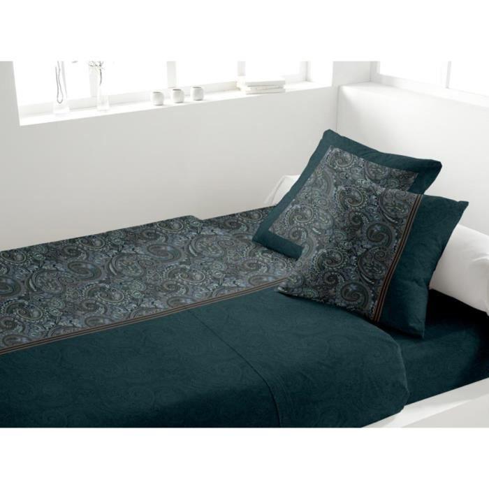 parure de drap coton 2 personnes ispahan orage par soleil d 39 ocre achat vente parure de drap. Black Bedroom Furniture Sets. Home Design Ideas