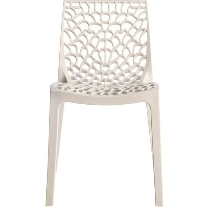 Chaise empilable gruvyer blanc achat vente chaise blanc cdiscount - Chaise moderne blanche ...