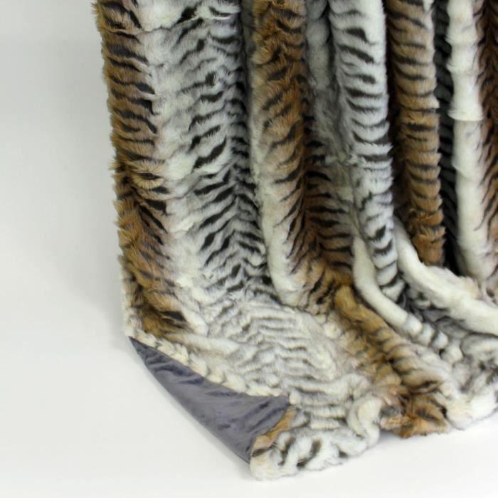 Couverture plaid polaire de luxe tigre gris 150 cm x 200 - Tigre polaire ...