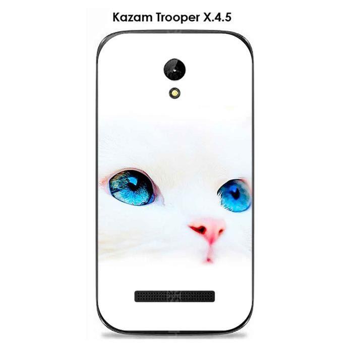coque kazam trooper x4 5 design chat blanc yeux bleus. Black Bedroom Furniture Sets. Home Design Ideas