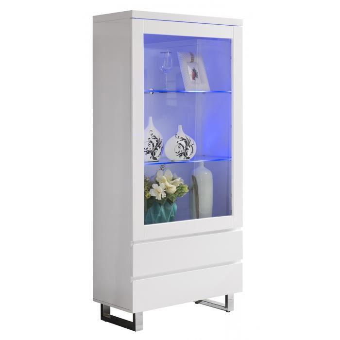 vitrine 1 porte blanc laqu 233 avec 233 clairage led et pied chrom 233 achat vente vitrine