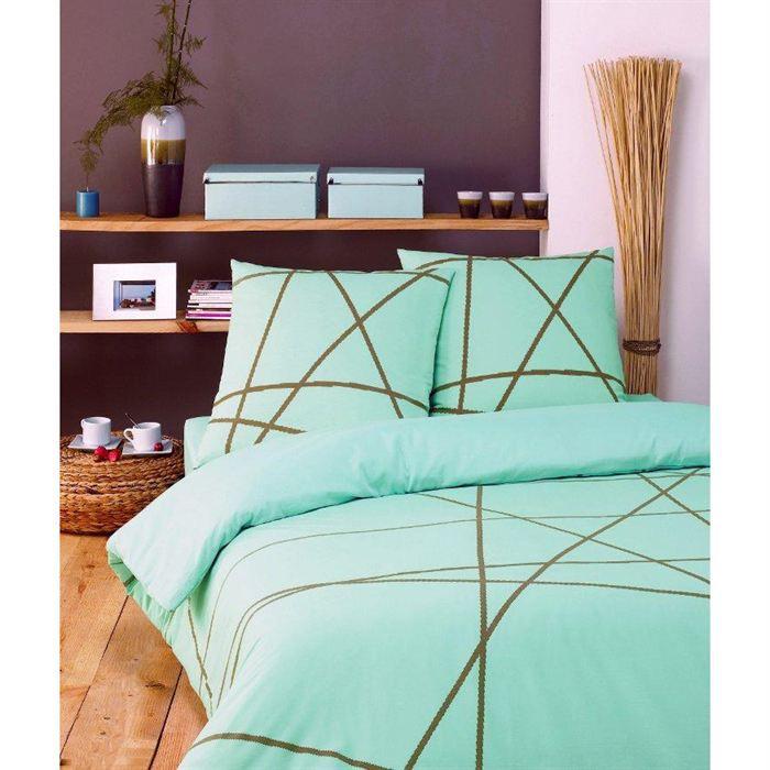 parure housse de couette 2 pcs 140 200 turquoise achat. Black Bedroom Furniture Sets. Home Design Ideas