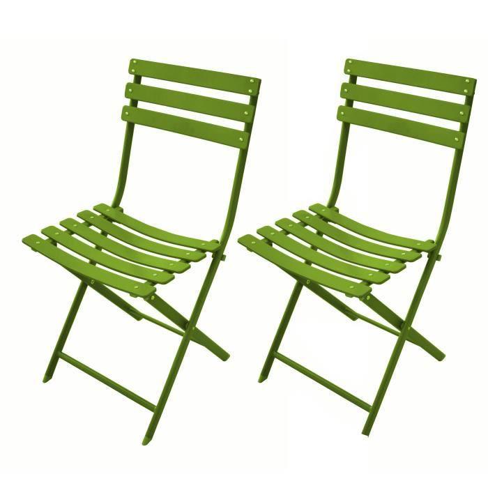 Chaise de jardin m rida vert lime lot de 2 achat for Lot chaise de jardin
