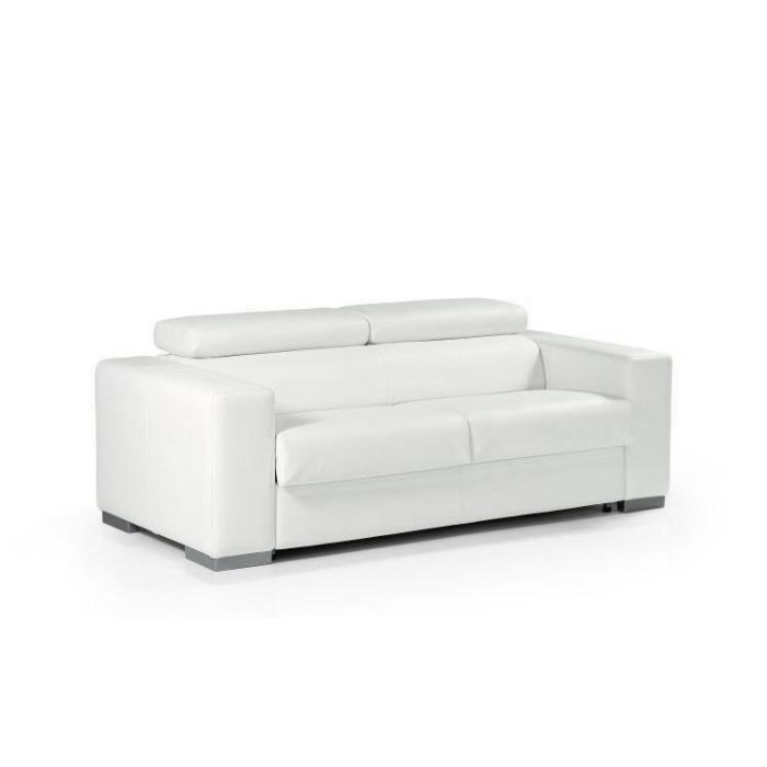 Canap convertible lit torino cuir recycl blanc achat vente canap sof - Choisir canape convertible ...