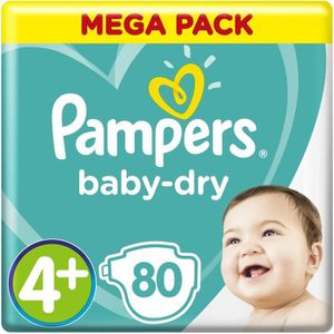 COUCHE PAMPERS Baby Dry Taille 4+ - 9 à 18kg - 80 couches