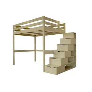 Lit mezzanine escalier cube achat vente lit mezzanine escalier cube pas c - Lit mezzanine 2 places avec escalier ...