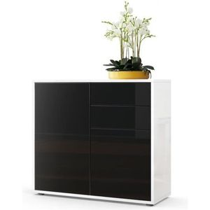 commode noir blanc laque achat vente commode noir. Black Bedroom Furniture Sets. Home Design Ideas