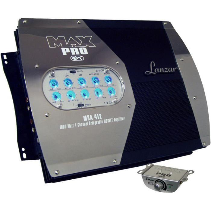 AMPLIFICATEUR AUTO Amplificateur 4 canaux Lanzar MXA412 1000w