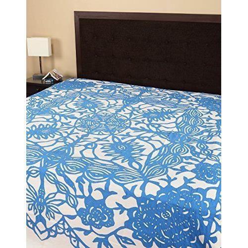 Draps de lit mobilier de maison literie indien applique - Ensemble draps lit double ...