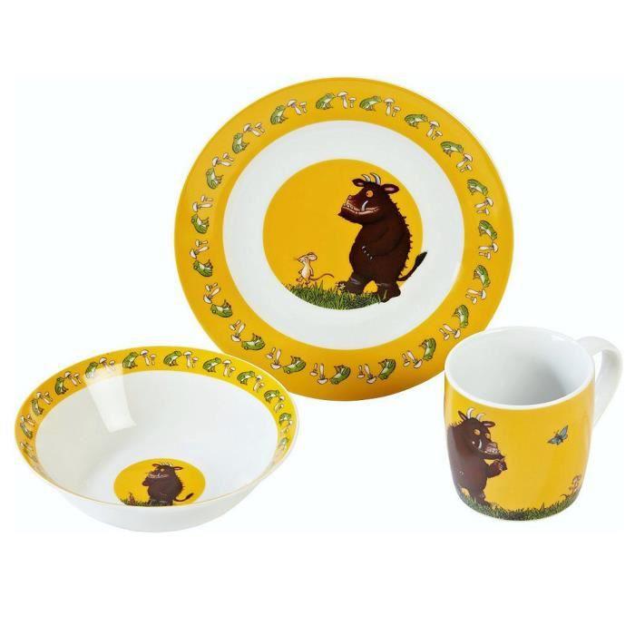 le gruffalo 3 pi ces en porcelaine de vaisselle set de petit d jeuner achat vente. Black Bedroom Furniture Sets. Home Design Ideas