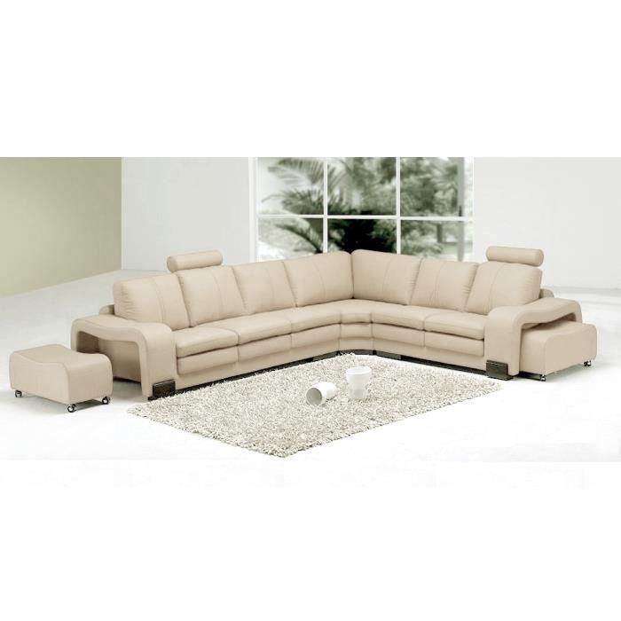 Canap d 39 angle en cuir italien 7 places evita achat vente canap sofa divan cdiscount Canape d angle italien