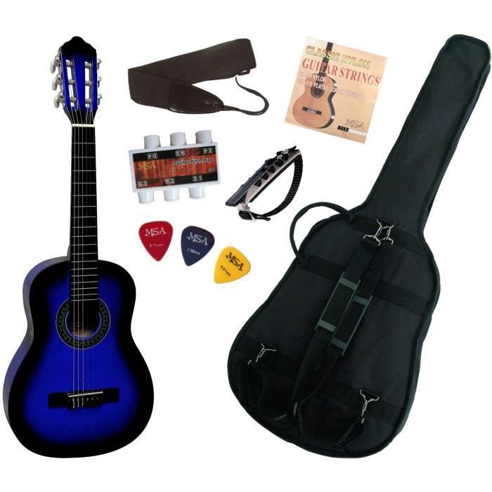 pack guitare classique 1 4 pour enfant 4 7ans avec 6 accessoires bleu pas cher achat. Black Bedroom Furniture Sets. Home Design Ideas