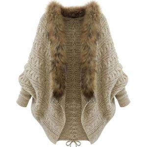 MANTEAU - CABAN Manteau Femme Hiver Lache Col avec Fourrure Pull M