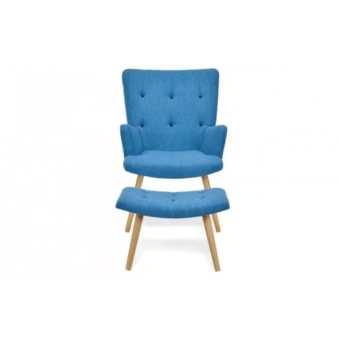 Fauteuil scandinave repose pieds bleu canard achat vente fauteuil sol - Fauteuil bleu canard ...