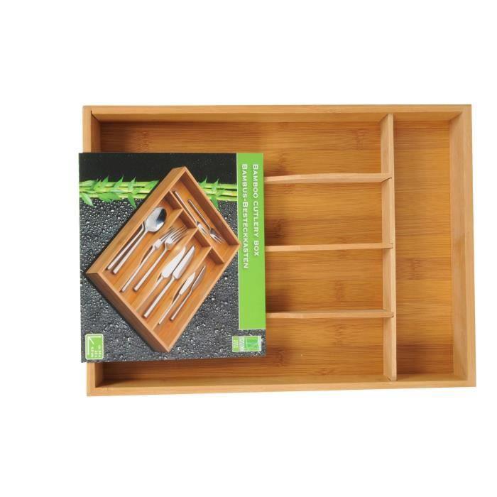 bo te couverts en bois bambou avec 5 compartiments pour un rangement facile achat vente. Black Bedroom Furniture Sets. Home Design Ideas